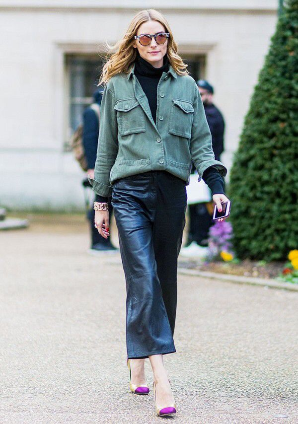 Leather pants,pumps and green jacket