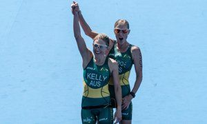 #RioParalympics 20 16   Australia's Katie Kelly (L) celebrates with her guide Michellie Jones at Copacabana beach in Rio de Janeiro.