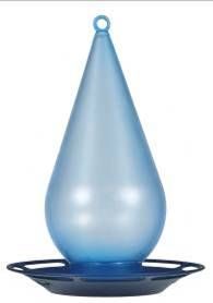 781 Droplet Bird Waterer Attract more birds with water!   •Holds 1 qt (0.95 L) of water   •Eye catching blue tint water bottle and navy base