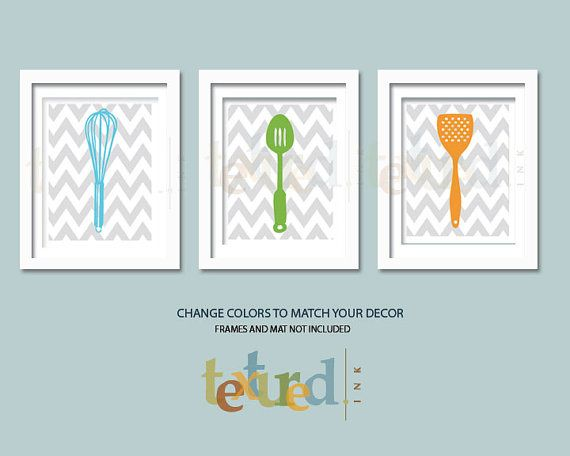 Kitchen Art Prints  Subdues Chevron Kitchen 8X10 by TexturedINK, $34.00