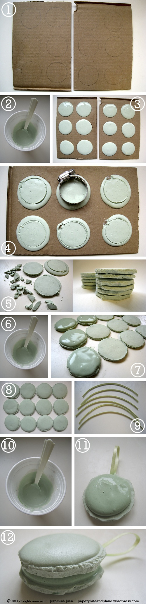 Diy Plaster French Macaron Ornaments  (you could also make these with corn starch or salt clay) - Tutorial