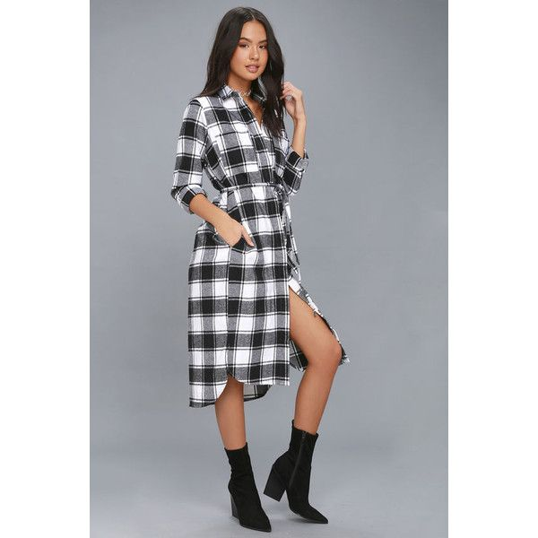 Sequoia Park Black and White Plaid Flannel Shirt Dress ($57) ❤ liked on Polyvore featuring dresses, black, flannel shirt dress, long-sleeve midi dresses, midi dress, long dresses and shirt dress