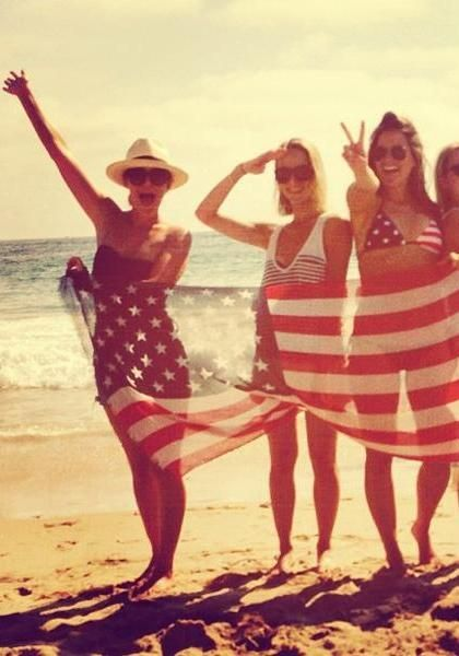 Red, white, and blue on the beach.