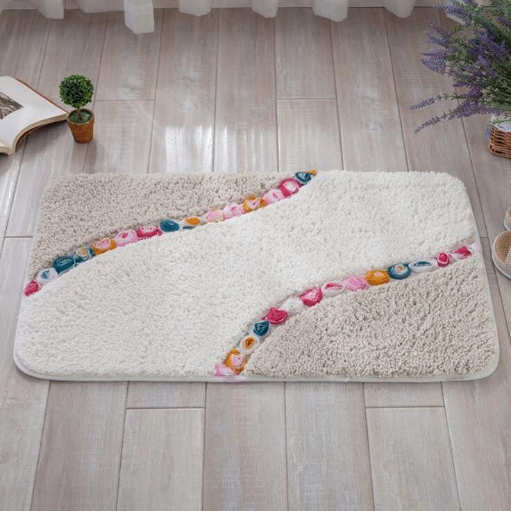Korean Beige Microfiber Bathroom Anti-Slip Mat Kitchen Living Room Rug Carpet Floor Mats Three-dimensional Rose Flower 370g