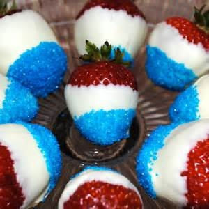 Easy and delicious white chocolate dipped strawberries, rolled in blue sanding sugar. Yum for a 4th of July themed Demo!