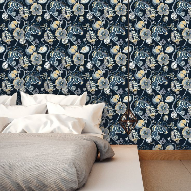 Tropical Fete Azure Blue Part Of The Genevieve Gorder For Tempaper Collection Is Exudes
