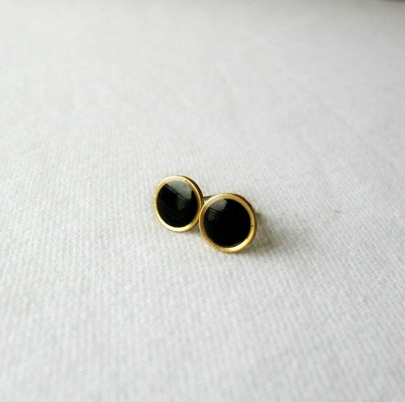 Tiny black gold post earrings-Delicate round by DivineDecadance