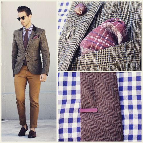 Tweed and gingham Jacket from #Zara Shirt by @tmlewin Lapel pin by @suited_man  Tie by @fridaytieday  Pocket square by @weekendcasual  Tie clip from @suited_man  Pants by @gap_southafrica  Shoes by @dune_london   ——————————————– For sartorial secrets and all things dapper visit www.whatmyboyfriendwore.com  For a look into my everyday life follow my personal account @Sergio_Ines  For fashion wisdom, random thoughts and lots of give aways follow me on twitter at @whatmybfwore  #Menswear…