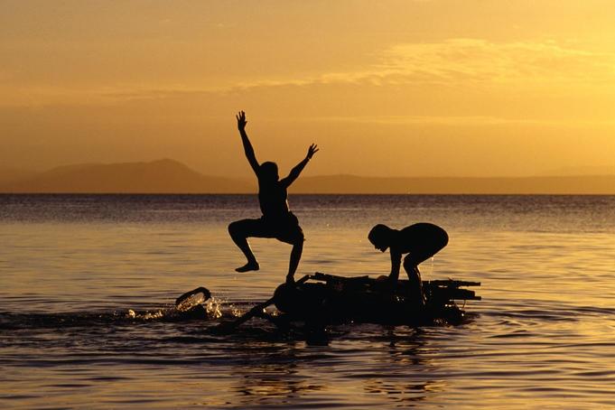 Children playing on Lake Taupo.