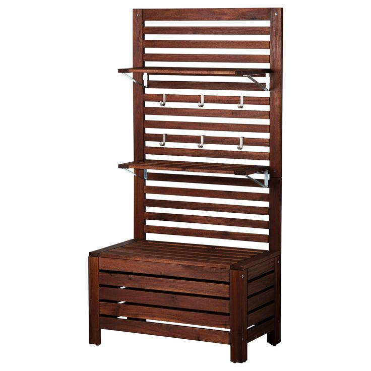 Like the idea of this for the south side of our decks to add privacy.    ÄPPLARÖ Bench with wall panel and shelf - IKEA