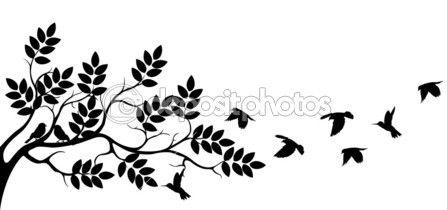 Sagoma albero con uccello volare — Illustrazione stock #14706667