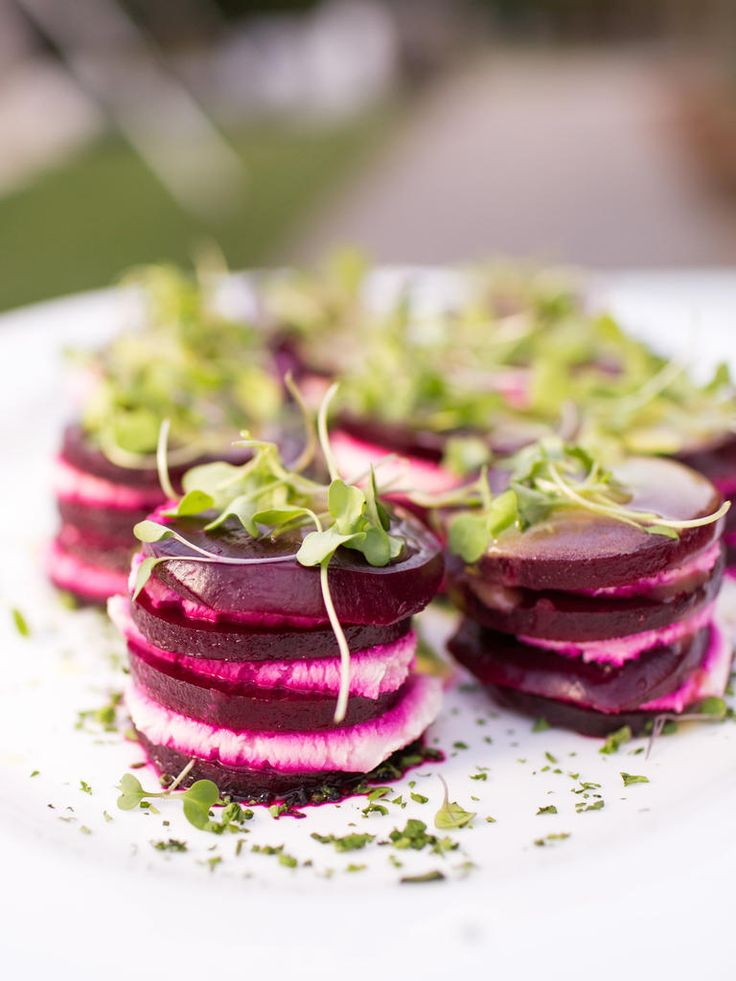 Summer Wedding Appetizers - Beet & Goat Cheese Stacks ~ we ❤ this! moncheribridals.com