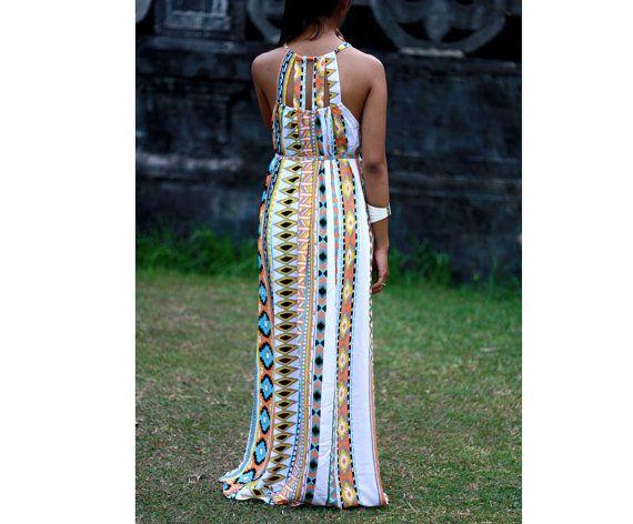 Tribal Maxi Dress Summer Dress Aztec Print Womens by LoNaDesign, $44.00