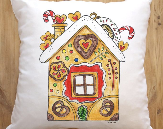 Gingerbreadhouse Christmas Pillow Cover, Christmas Pillowcase, Decorative Throwpillow, Gingerbread