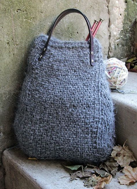 Free Knitting Pattern for 4 Row Repeat Lopi Tote - This tote bag is knit in a 4 row repeat linen stitch. The Lopi Tote is 16″ in length. Laid flat, the top of the bag measures 8″ across. Great project tote! Designed by Heidi Gustad. Quick knit in bulky yarn.