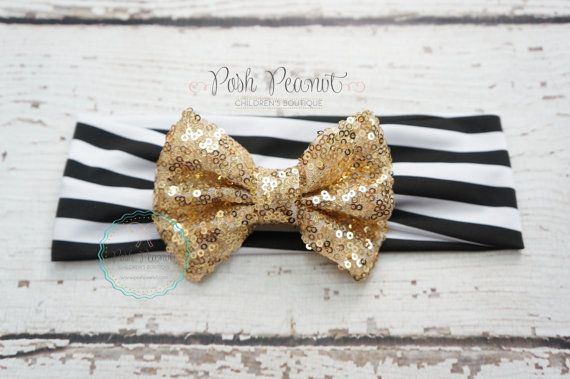 Gold sequin bow Gold sparkle bow top knot bow by PoshPeanutKids