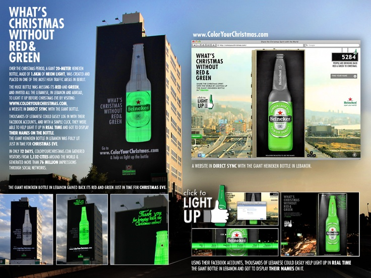Campaign: Heineken: What's Christmas without Red & Green / Advertiser: Brasserie Almaza / Agency: JWT Beirut / Country: Lebanon / Creative Director: Iyad Zahlan / Award: Ambient: (all product categories) Emerald