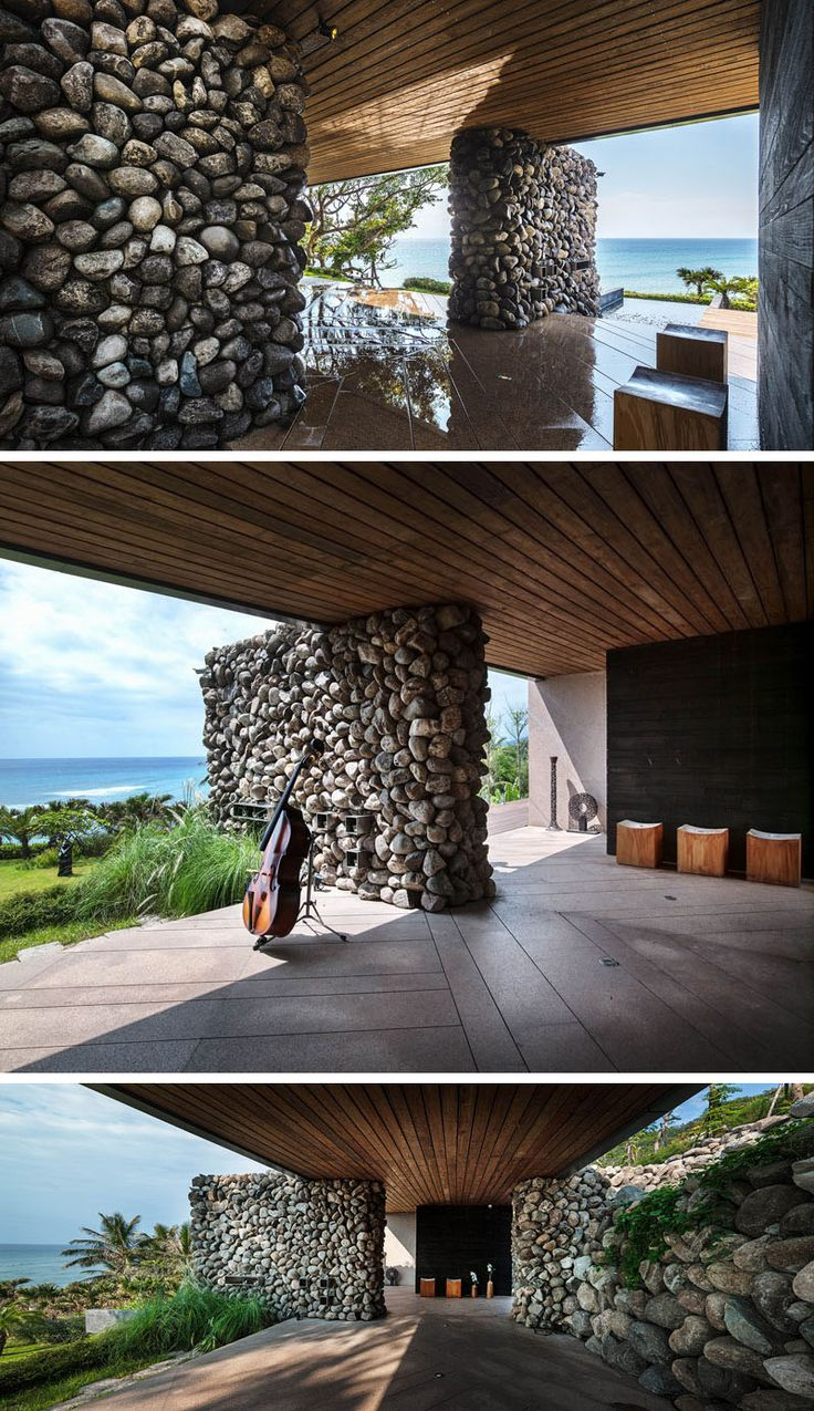 This modern house used the rocks excavated from the ground to build some of the walls.