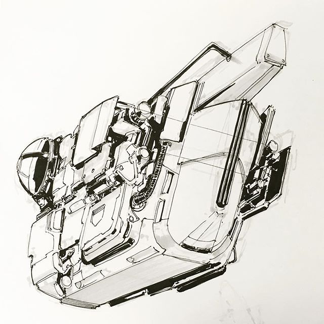 WEBSTA @ darrenpowlessdesign - Submersible #water #drawing #sketch #ballpoint #conceptart #mechanical #scifi #pen #marker #practice #sketchbook #draw #fun #instaart