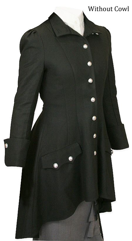 Steampunk Ladies Black Wool Blend Stand Collar CloakDesign by Amber Middaugh and JW   | Gothic | Pirate | LARP | Cosplay | Retro | Vampire || Madeline Inverness Coat - Black