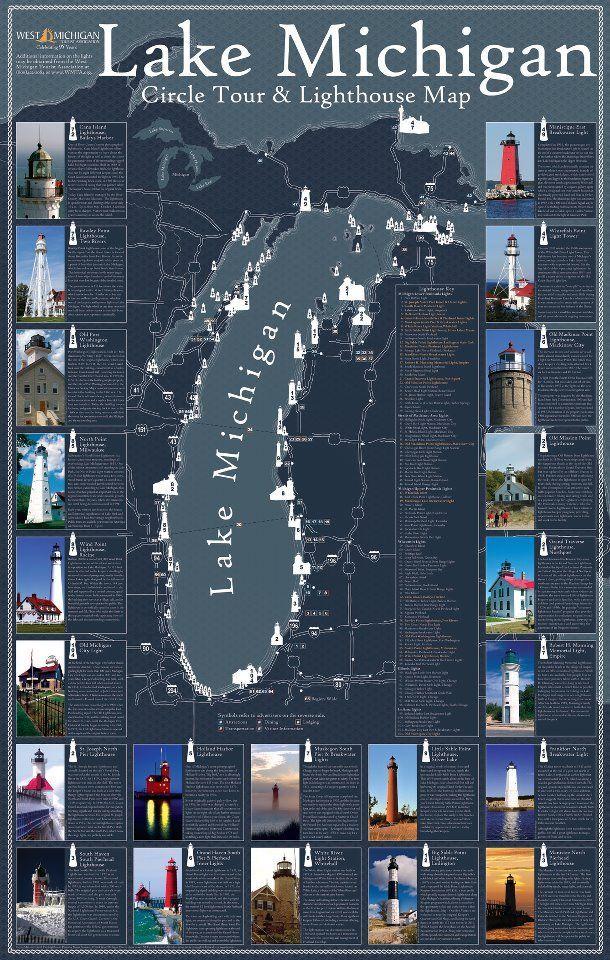 Around Lake Michigan Lighthouse Map | Michigan | Pinterest ...