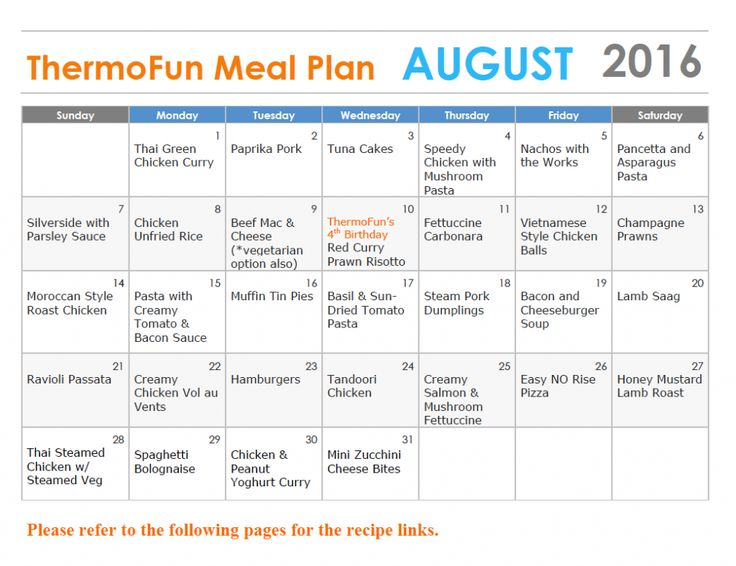 Thermomix FREE Meal Plan - August 2016 - ThermoFun | Thermomix Re