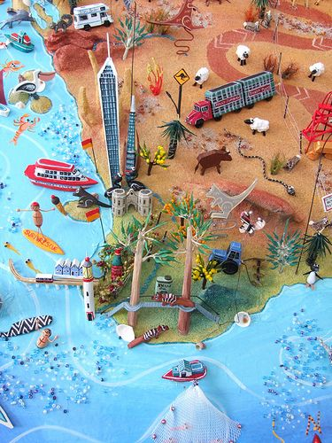 Sara Drake - Map of WA - Detail from larger map of Australia, showing the South West corner of WA. Including Perth, Fremantle, Rottnest Island, Busselton and Margaret River. Papier mache, balsa wood, beads and acrylic paint