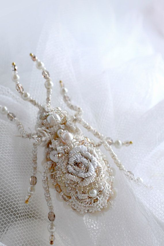 Textile Beetle brooch rustic weddings white by PurePearlBoutique