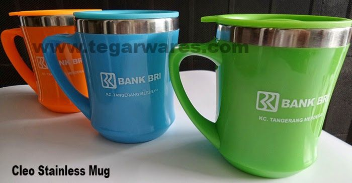 Mug stainless tipe Cleo, for banking merchandise. Ordered by PT. Bank Rakyat Indonesia, Tangerang Banten Indonesia. 11.5 x 6 x 6cm Capacity: 350ml. Color: Blue, Green, Orange, Purple
