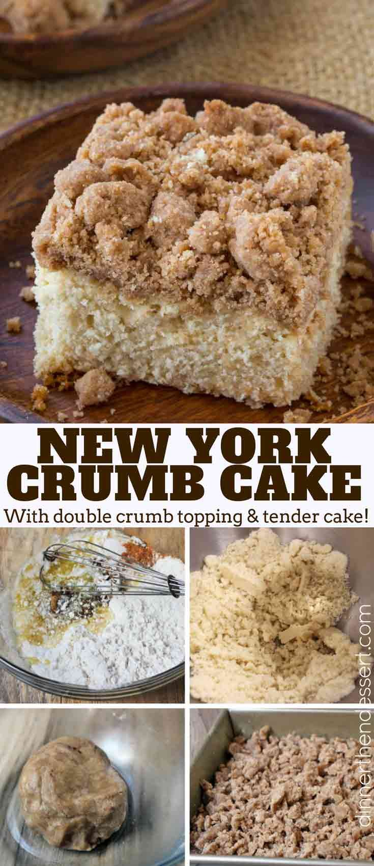 Classic New York Crumb Cake just like the kind you would find in your favorite coffee shop, a tender cake topped with large chunks of cinnamon sugar goodness!