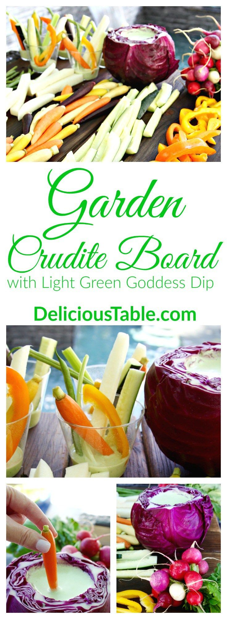 Serve fresh Garden Crudités in Light Green Goddess Dip in a bright purple cabbage bowl or in little cups for brunch, a spring shower, or garden pool party!