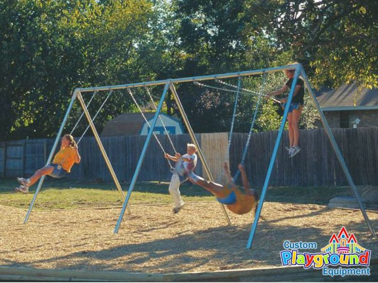 """Commercial Bi-Pod Swing Set Frame - Includes sturdy galvanized 2 3/8"""" pipe frame and swing hangers."""