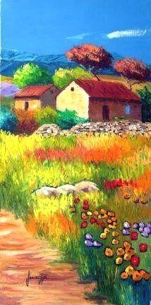 Paysage provençal3 - Jean-Marc JANIACZYK, peinture au couteau