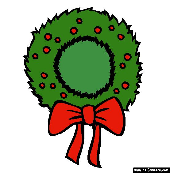 christmas wreath online coloring page