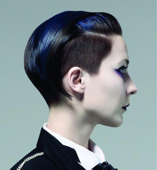 Short Black Straight Multi Tonal Coloured Avant Garde Shaved Sides Womens Haircut Hairstyles For Women Blue Hair Highlights Hair Styles Balayage Straight Hair