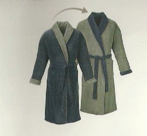 Mens Microfibre reversible bathrobe dressing gown knee length soft fleecy shawl