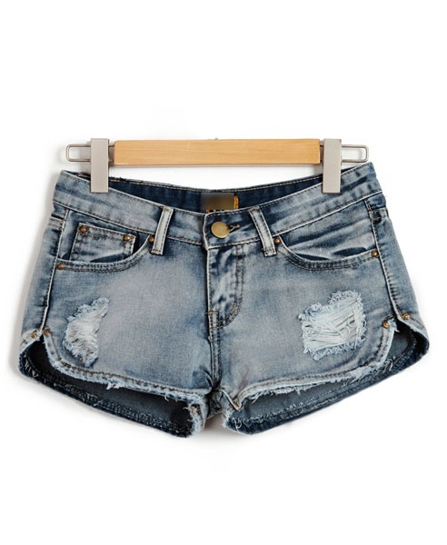 DIY inspiration - Distressed Denim Shorts with Curved Hem