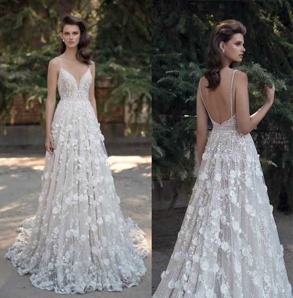 3d Floral Appliques Princess A Line Wedding Dresses 2016 Berta Bridal  Sequin Lace Beaded Spagetti Sweathear Neckline Backless Wedding Gowns