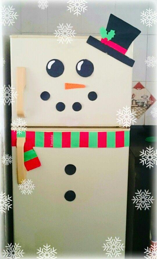 #nevera #muñeco de #nieve #snowman #cocina #snow #christmas #diy