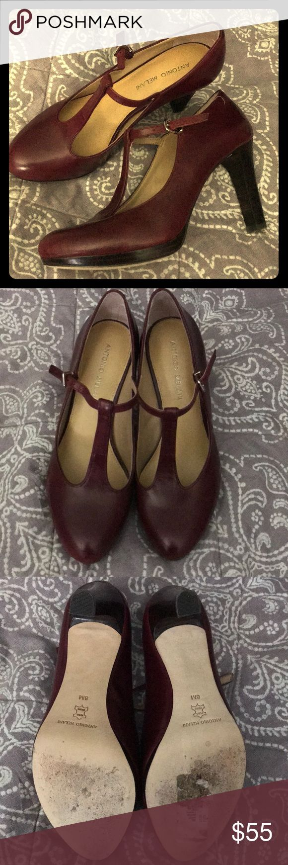 Gorgeous Antonio Melani T-Strap Leather Heels Absolutely gorgeous pair of Antonio Melani heels! Put these on with an LBD and bam! You're slaying the day!   Brand: Antonio Melani  Condition: EUC (worn maybe twice)  Size: 8  Color: Burgundy Style: T-Strap  Material: Leather ANTONIO MELANI Shoes Heels