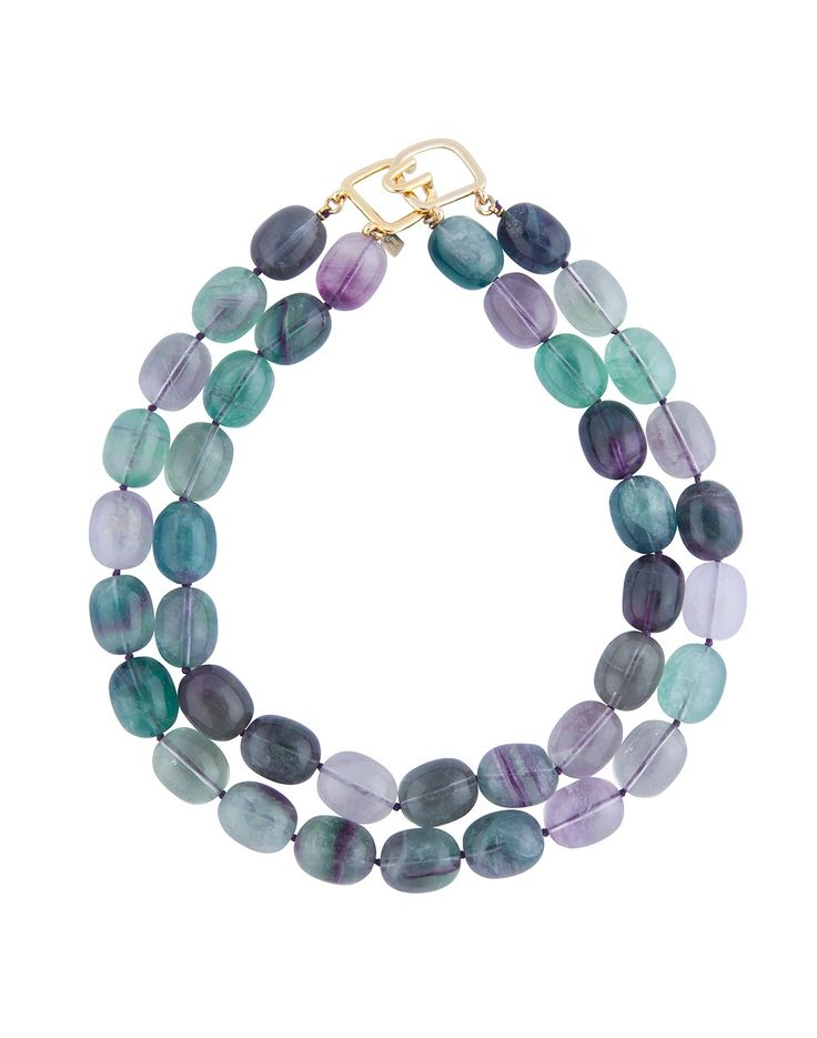 Match your beachy surroundings with this Kenneth Jay Lane Double Strand Stone Necklace