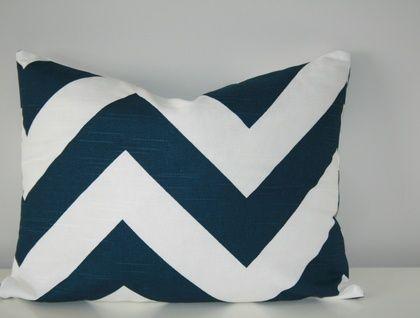 Beautiful Lumbar Chevron Cushion Cover, Classic Navy and White | Felt