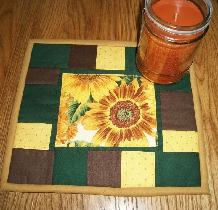 Quilted Candle Mat Mug Rug Coaster Sunflower Decor Country Primitive Rustic Kitchen Decor by NeedlesnPinsStichery on Etsy