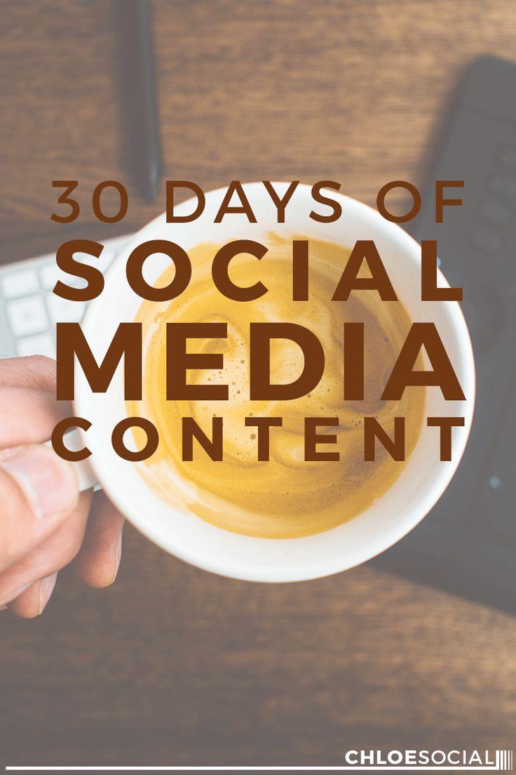 30 Days of Social Media Content (+ Free Content Calendar) | Chloe Social…
