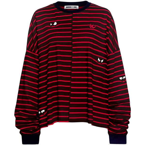 Mcq Alexander Mcqueen - Striped Long Sleeve Tee ($290) ❤ liked on Polyvore featuring tops, t-shirts, stripe t shirt, striped long sleeve tee, graphic tees, striped long sleeve t shirt and longsleeve t shirts