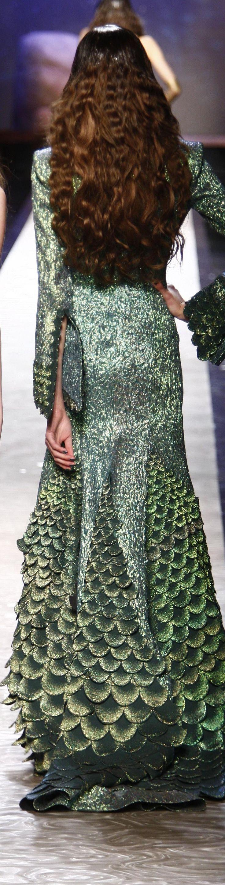 Jean Paul Gaultier ~ Mermaid Style Evening Dress, Multi Green