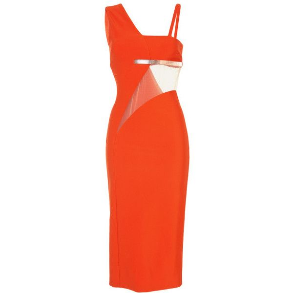 MUGLER Orange Mega Milano Dress (12,810 PEN) ❤ liked on Polyvore featuring dresses, orange, short dresses, short red cocktail dress, red sleeveless dress, red dress, pencil dress and red camisole