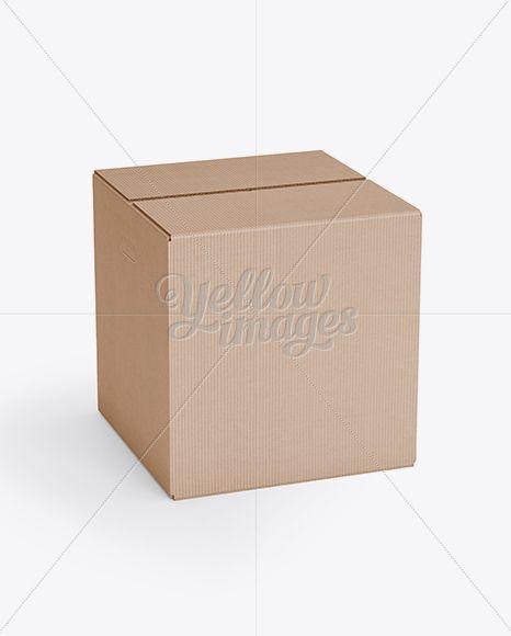 Corrugated Fiberboard Box Mockup – 25° Angle Front View (High-Angle Shot)