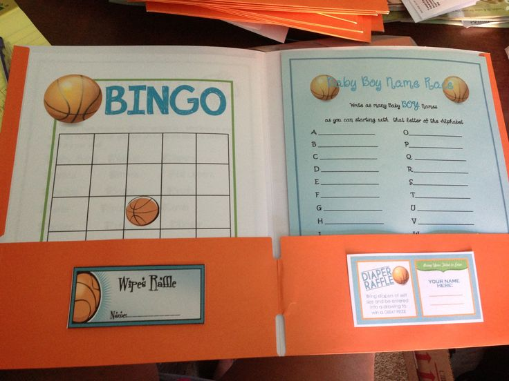Basketball Baby Shower Game Folder with raffle tickets inside