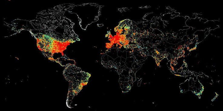 A striking map created by John Matherly at search engine Shodan shows significant disparities in internet access across the world.